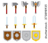 game elements weapons. pixel... | Shutterstock .eps vector #373898935