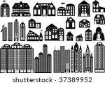 set of black symbols of... | Shutterstock . vector #37389952