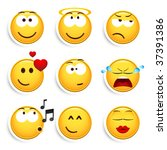 set of nine smileys | Shutterstock .eps vector #37391386
