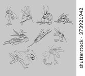 line drawing mosquitoes... | Shutterstock .eps vector #373921942
