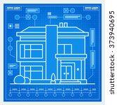 house blueprint scheme. vector. | Shutterstock .eps vector #373940695