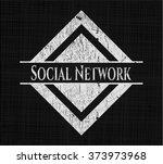 social network with chalkboard... | Shutterstock .eps vector #373973968