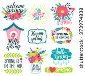 vector set of beautiful labels... | Shutterstock .eps vector #373974838