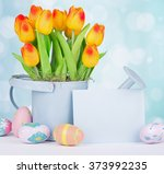bunch of tulips and easter eggs ... | Shutterstock . vector #373992235
