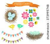 easter clipart set. blue eggs... | Shutterstock .eps vector #373995748