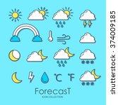 set of weather icons. vector... | Shutterstock .eps vector #374009185