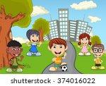 children in the park cartoon | Shutterstock . vector #374016022