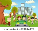 children playing in the park... | Shutterstock . vector #374016472