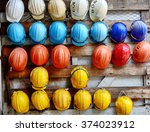 colorful construction helmets... | Shutterstock . vector #374023912