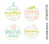 smoothie and summer special... | Shutterstock .eps vector #374033725