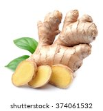 Ginger Root In Isolated White...