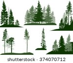 illustration with fir trees set ... | Shutterstock .eps vector #374070712
