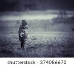 young happy boy playing outdoor ... | Shutterstock . vector #374086672