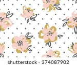 seamless pattern with pink and... | Shutterstock .eps vector #374087902