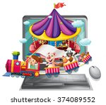 computer screen with children... | Shutterstock .eps vector #374089552