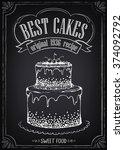 vintage poster best cakes.... | Shutterstock .eps vector #374092792