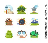 flat camping outdoor icons | Shutterstock . vector #374095276