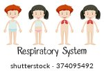 children and respiratory system ... | Shutterstock .eps vector #374095492