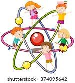children and atomic symbol... | Shutterstock .eps vector #374095642