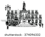 camoes square in lisbon  ... | Shutterstock .eps vector #374096332