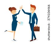 high five business man and...   Shutterstock .eps vector #374106466