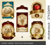 vector labels  food and... | Shutterstock .eps vector #37410694