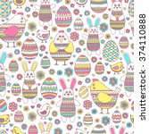 seamless easter pattern with... | Shutterstock .eps vector #374110888