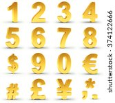set of golden numbers and... | Shutterstock . vector #374122666
