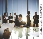 corporate business team meeting ... | Shutterstock . vector #374127055