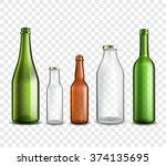 glass bottles realistic 3d set... | Shutterstock .eps vector #374135695