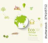 environmentally friendly world. ... | Shutterstock .eps vector #374145712
