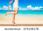 beautiful woman with heels... | Shutterstock . vector #374148178