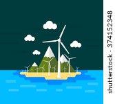 vector island illustration with ... | Shutterstock .eps vector #374152348