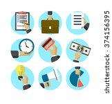 flat design business icons  ... | Shutterstock .eps vector #374156395