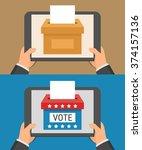 voting online concept. hand... | Shutterstock .eps vector #374157136
