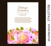 invitation with floral... | Shutterstock .eps vector #374157538