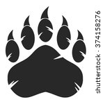 black bear paw with claws.... | Shutterstock .eps vector #374158276