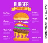 burger ingredients illustration | Shutterstock .eps vector #374160592