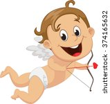 funny little cupid with bow and ... | Shutterstock .eps vector #374165632