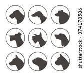 vector set of dog breed emblems ... | Shutterstock .eps vector #374178586