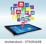 modern digital tablet pc with... | Shutterstock .eps vector #374181658