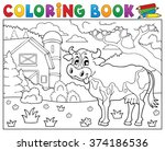 coloring book cow near farm... | Shutterstock .eps vector #374186536