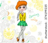 cute beautiful fashionable... | Shutterstock .eps vector #374199235