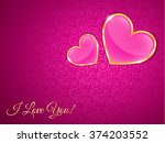 two cute glass hearts in a gold ... | Shutterstock .eps vector #374203552