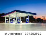 gas station at sunset. | Shutterstock . vector #374203912
