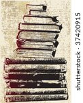 grunge book stack | Shutterstock .eps vector #37420915