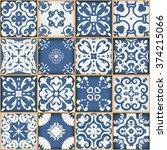 floral patchwork tile design....   Shutterstock . vector #374215066