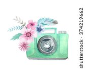 set of watercolor photo camera... | Shutterstock . vector #374219662