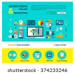 bright flat web banner template ... | Shutterstock .eps vector #374233246