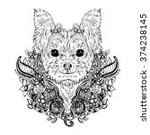 yorkshire terrier graphic dog ... | Shutterstock .eps vector #374238145